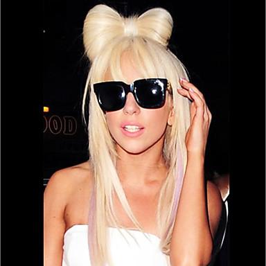 billige Kostymeparykk-Syntetiske parykker Rett Gaga Stil Lagvis frisyre Parykk Blond Lang Bleik Blond Syntetisk hår 24 tommers Dame syntetisk Blond Parykk