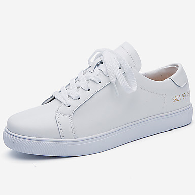 levne Dámské tenisky-Dámské Tenisky Komfortní boty Rovná podrážka Třásně Kůže Podzim zima Černá / Bílá