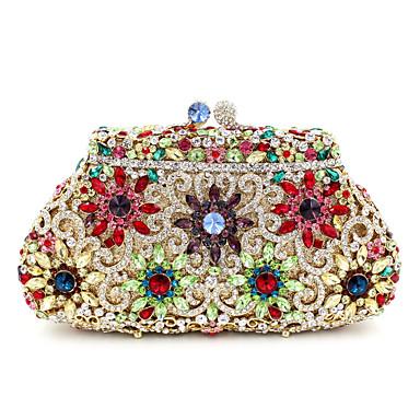 billige Vesker-Dame Krystalldetaljer / Uthult Legering Clutchveske Rhinestone Crystal Evening Bags Gull / Sølv / Høst vinter
