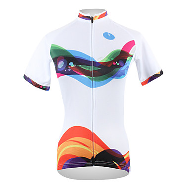 ILPALADINO Women s Short Sleeve Cycling Jersey - Orange+White+Black Stripe  Plus Size Bike Jersey Top Breathable Quick Dry Ultraviolet Resistant Sports  100% ... ad0afbe5d
