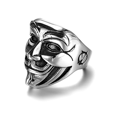 billige Motering-Herre Band Ring Statement Ring Ring 1pc Sølv Legering Annerledes Kunstnerisk Punk Gotisk Karneval Klubb Smykker Elegant Skulptur Indgraveret Kreativ Ansikt Kul
