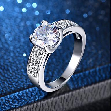 billige Engasjement-Dame Ring Micro Pave Ring 1pc Sølv Kobber Platin Belagt Fuskediamant Fire tenger damer Klassisk Romantikk Bryllup Engasjement Smykker Klassisk Kjærlighed Smuk