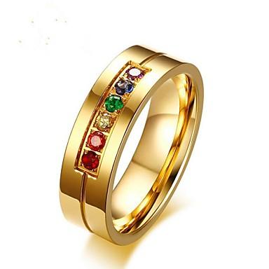 levne Pánské šperky-Pánské Midi Ring Kubický zirkon 1ks Zlatá Titanová ocel Circle Shape Módní Svatební Dar Šperky Klasika