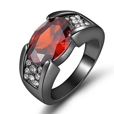 billige Motering-Par Ring Kubisk Zirkonium 1pc Svart Kobber Strass Kube damer Stilfull Klassisk Bryllup Engasjement Smykker Klassisk Elegant