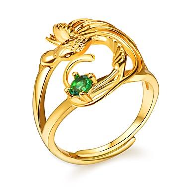 billige Motering-Dame Justerbar ring vikle ring Kubisk Zirkonium 1pc Gull Kobber damer Romantikk Mote Engasjement Gave Smykker Fugl