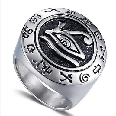 voordelige Herensieraden-Heren Midi Ring Zegelring Illuminati Ring 1pc Goud Zilver Titanium Staal Cirkelvorm Vintage Militair Lahja Dagelijks Sieraden Vintagestijl Gegraveerd High School Rings Klasse familiewapen Magie Cool