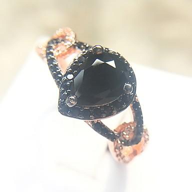 billige Motering-Dame Ring Onyks 1pc Rose Gull Kobber Obsidian Gullplatert rose damer trendy Mote Karneval Maskerade Smykker Klassisk Pære Smuk / Fuskediamant