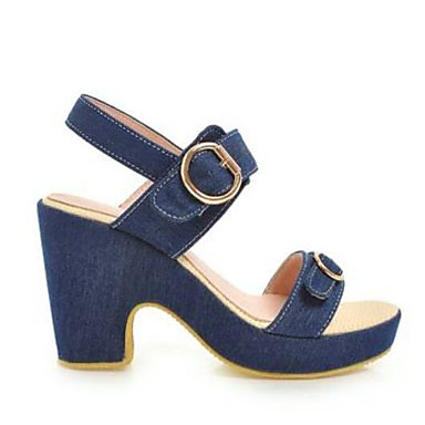 Women s Comfort Shoes Denim Summer Sandals Chunky Heel Dark Blue   Light  Blue 6940924 2019 –  22.99
