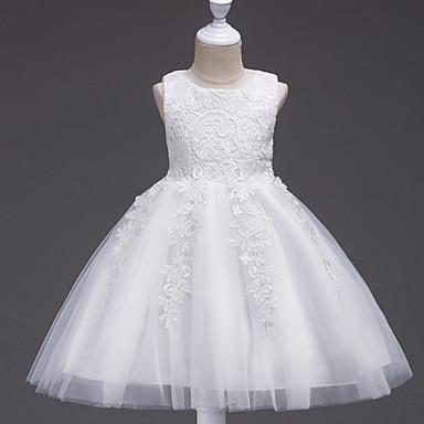 Χαμηλού Κόστους Κορυφαία σε Πωλήσεις-Παιδιά Κοριτσίστικα Γλυκός Γεωμετρικό Αμάνικο Φόρεμα Λευκό