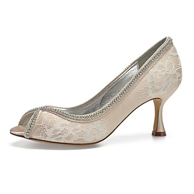 a838b4b46f3e Women s Comfort Shoes Satin Spring   Summer Wedding Shoes Flared Heel Peep  Toe Sparkling Glitter Silver   Champagne   Ivory   Party   Evening 6933498  2019 – ...