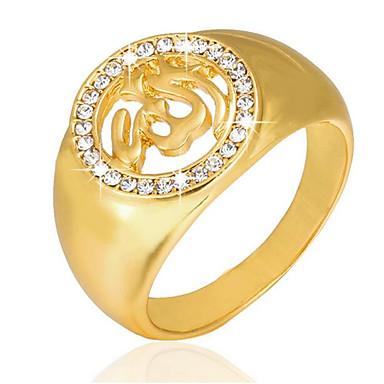 levne Pánské šperky-Pánské Band Ring Pečetní prsten 1ks Zlatá Pozlaceno 18k Pozlacené Slitina Geometric Shape Čtvercový Jedinečný design Vintage Svatební Denní Šperky Retro styl 3D Haç kreativita Cool