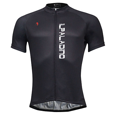 ILPALADINO Men s Short Sleeve Cycling Jersey - Black Solid Color Bike  Jersey Top 89090c5e7