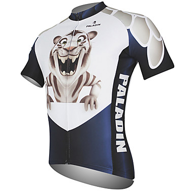 ILPALADINO Men s Short Sleeve Cycling Jersey - Black   White Animal Tiger Bike  Jersey Top Breathable Quick Dry Ultraviolet Resistant Sports 100% Polyester  ... 3130f6dca