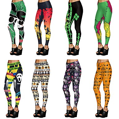 d00ba58cc1a [$12.99] Women's Yoga Pants Black / Yellow Green / Black Light Brown Sports  Halloween Tights Leggings Zumba Running Fitness Activewear Breathable Soft  ...