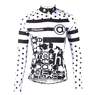 a79ddf2d7 ILPALADINO Women s Long Sleeve Cycling Jersey - Black   White Polka Dot  Plus Size Bike Jersey Top Breathable Quick Dry Ultraviolet Resistant Sports  100% ...