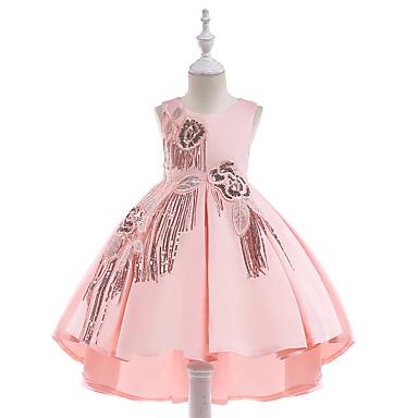 お買い得  ガールズウェア-子供 女の子 活発的 ヴィンテージ パーティー 祝日 ソリッド タッセル ノースリーブ 膝丈 ドレス ブルー