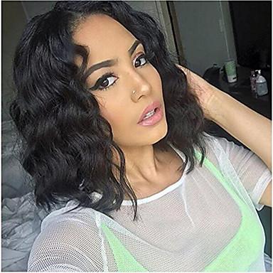 6999 Cabello Natural Remy Vollspitze Spitzenfront Perücke Asymmetrischer Haarschnitt Rihanna Stil Brasilianisches Haar Wasserwellen Schwarz