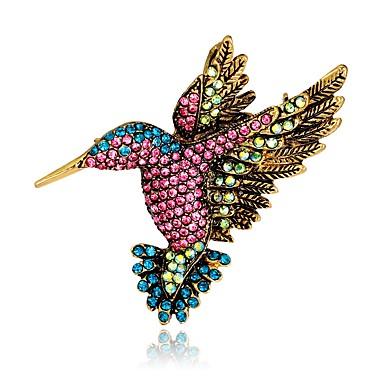 preiswerte Brosche-Damen Broschen Vintage Stil 3D Vogel Tier damas Einzigartiges Design Retro Alltäglich schick Strass vergoldet Brosche Schmuck Regenbogen Für Party Strasse