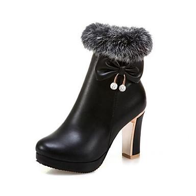 voordelige Dameslaarzen-Dames Laarzen Comfort schoenen Blokhak PU Korte laarsjes / Enkellaarsjes Winter Zwart / Geel / Roze