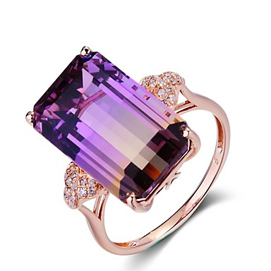 cheap Rings-Women's Ring Amethyst 1pc Rose Gold Copper Rectangle Ladies Elegant Wedding Party Jewelry Stack Cocktail Ring Mood