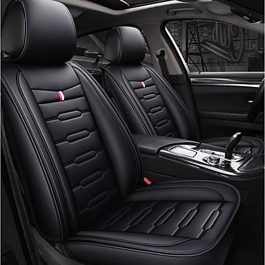 billige Interiørtilbehør til bilen-5 seter svart setersdeksel for fire seter for fem seters bil / pu skinnmateriale / kollisjonspute kompatibilitet / justerbar og avtakbar / familiebil / suv