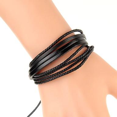 voordelige Herensieraden-Heren Lederen armbanden Armband Gevlochten Creatief Eenvoudig Modieus Henneptouw Armband sieraden Zwart / Regenboog / Bruin Voor Dagelijks Verjaardag