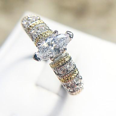 billige Motering-Dame Ring 1pc Sølv Kobber Platin Belagt Fuskediamant damer trendy Elegant Stevnemøte Festival Smykker Nagle Pave Øyne Smuk