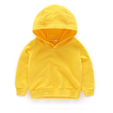 cheap Baby & Kids-Kids Boys' Basic Solid Colored Long Sleeve Hoodie & Sweatshirt Yellow