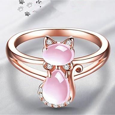 billige Motering-Dame Ring vikle ring Pussy Rings 1pc Lysebrun Kobber Strass damer Stilfull Klassisk Daglig Smykker Klassisk Kat Humør