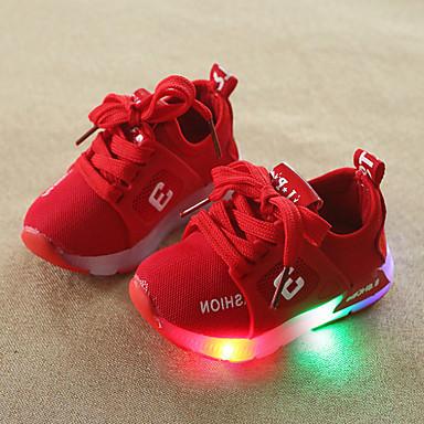levne Dětské botičky-Chlapecké / Dívčí Pohodlné / Svítící boty Síťka Tenisky Batole (9m-4ys) / Malé děti (4-7ys) Šněrování / LED Šedá / Červená / Růžová Jaro & podzim