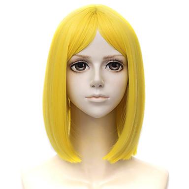 billige Kostymeparykk-Cosplay Parykker Syntetiske parykker Rett Stil Lagvis frisyre Parykk Blond Kort Gul Syntetisk hår 14 tommers Herre Cosplay Blond Parykk