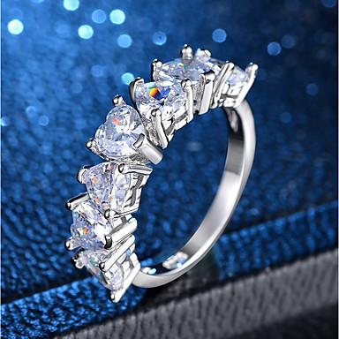 billige Motering-Dame Ring Evigheten Ring 1pc Sølv Kobber Platin Belagt Fuskediamant damer Klassisk Romantikk Bryllup Fest Smykker Klassisk Hjerte Kjærlighed Heart