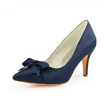 18b3b162a53 Women s Pumps Satin Fall Wedding Shoes Stiletto Heel Pointed Toe Bowknot  Dark Blue   Party   Evening 6940918 2018 –  39.99