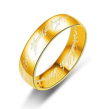 billige Motering-Herre Band Ring Ring Groove Rings 1pc Gull Svart Sølv Titanium Stål Sirkelformet Kunstnerisk Europeisk Inspirerende Daglig Klubb Smykker Klassisk Elegant Nummer Bokstaver Ringenes Herre Kul