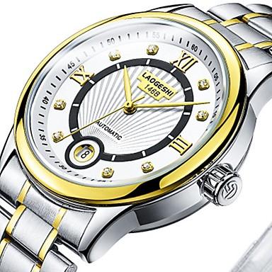levne Dámské-Pánské Pro páry Hodinky k šatům mechanické hodinky zlaté hodinky japonština Automatické natahování Velkoformátové Nerez Stříbro 30 m Voděodolné Svítící Velký ciferník Analogové Klasické Na běžn