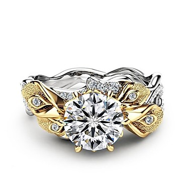 billige Motering-Dame Ring 1pc Sølv Kobber Platin Belagt Fuskediamant damer Natur Mote Bryllup Graduation Smykker Skulptur Blomst Flower Shape Smuk
