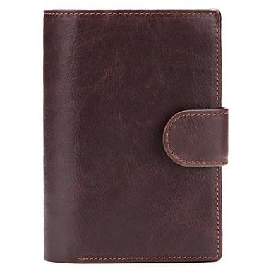 cheap Wallets-Men's Zipper Cowhide Wallet Black / Coffee
