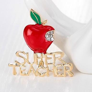 voordelige Dames Sieraden-Dames Broches Klassiek Apple Dames Eenvoudig Standaard Strass Broche Sieraden Goud Voor Kerstmis