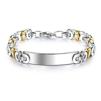 levne Pánské šperky-Pánské Náramek Dvoubarevné Link / řetězec stylové Evropský Pozlaceno 18k Náramek šperky Bílá Pro Street / Titanová ocel / Pokovená platina