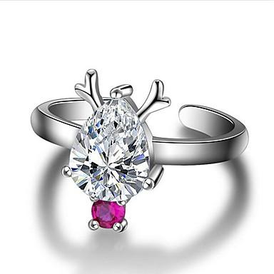 billige Motering-Dame Åpne Ring Ametyst 1pc Sølv Kobber Sølvplett Glass Dråper damer Unikt design Mote Jul Halloween Smykker 3D Pære Smuk