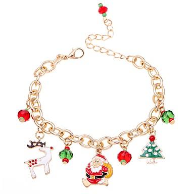 levne Dámské šperky-Dámské Řetězové & Ploché Náramky Náramek s přívěškem Klasika Jelen Vánoční stromek dámy Módní Lidová Style Slitina Náramek šperky Červená Pro Vánoce Karneval
