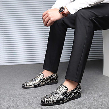 cheap Men's Slip-ons & Loafers-Men's Formal Shoes Comfort Shoes Fall & Winter Classic / British Party & Evening Office & Career Loafers & Slip-Ons Satin Breathable Non-slipping Wear Proof Black / Red / Blue / Sequin / EU40