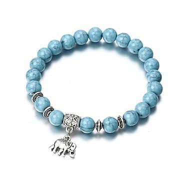 levne Dámské šperky-Dámské Tyrkysová Korálkový náramek Náramek s přívěškem Stylové Boncuklar Slon dámy Vintage Módní Kabel Náramek šperky Modrá Pro Jdeme ven Bar