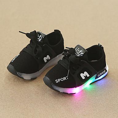 voordelige Babyschoenentjes-Jongens / Meisjes Comfortabel / Oplichtende schoenen Netstof Sneakers Peuter (9m-4ys) / Little Kids (4-7ys) Veters / LED Zwart / Rood / Roze Lente & Herfst
