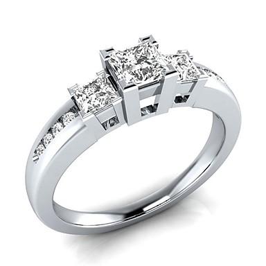 billige Motering-Dame Ring Kubisk Zirkonium 1pc Hvit Blå Kobber Platin Belagt Hvitt gull damer Romantikk Bryllup Engasjement Smykker Elegant simulert 3 stein