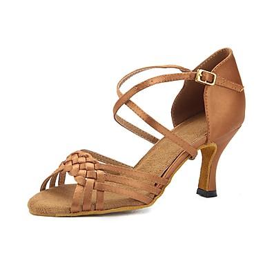 cb96f0c1e7b8 Žene Cipele za latino plesove Saten Sandale   Štikle Kopča Deblja visoka  potpetica Moguće personalizirati Plesne cipele žutomrk iz 6934882 2019 . –   39.99