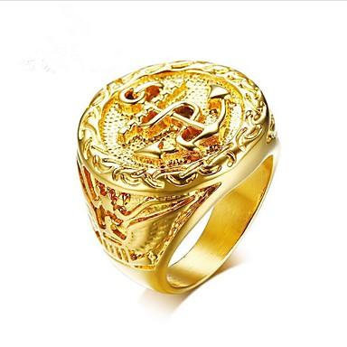 levne Pánské šperky-Pánské Midi Ring Pečetní prsten 1ks Zlatá Titanová ocel Circle Shape Módní Dubaj Dar Denní Šperky Retro Ryté Řemeslník Kotva Cool