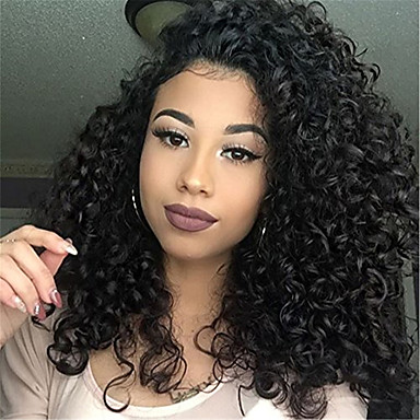 Remy Human Hair Full Lace Lace Front Wig Asymmetrical Kardashian style  Brazilian Hair Afro Curly Black Wig 130% 150% 180% Density with Baby Hair  Fashionable ... ecbcd0c4ee99