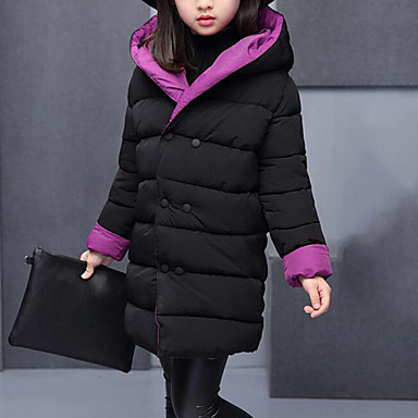 cheap Baby & Kids-Kids Girls' Active Street chic Daily Going out Patchwork Patchwork Long Sleeve Long Down & Cotton Padded Green