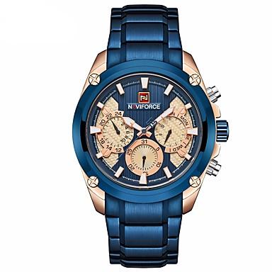 levne Pánské-NAVIFORCE Pánské Hodinky k šatům Náramkové hodinky Letecké hodinky japonština Japonské Quartz Nerez Černá / Modrá 30 m Voděodolné Kalendář Svítící Analogové Luxus Klasické Módní - Černá Modrá